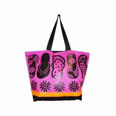 Damestas strandtas zomerse print flip flops roze